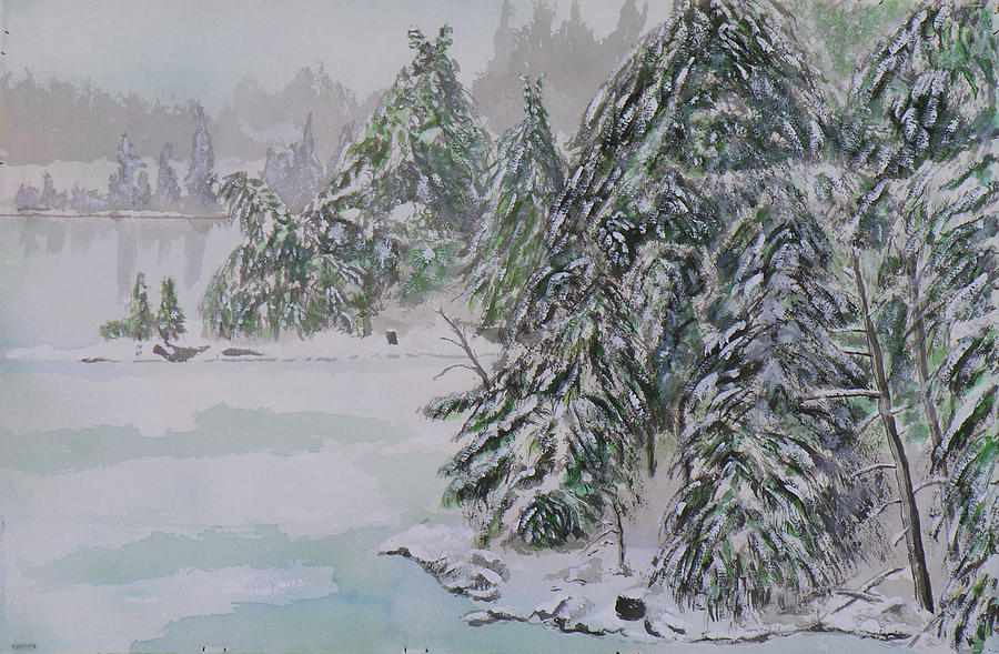 Paintings Painting - Winter Chill St Lawrence River by Robert P Hedden