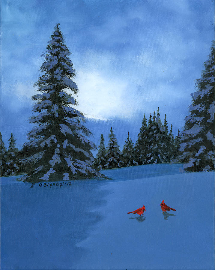 Winter Christmas Card 2012 Painting by Cecilia Brendel