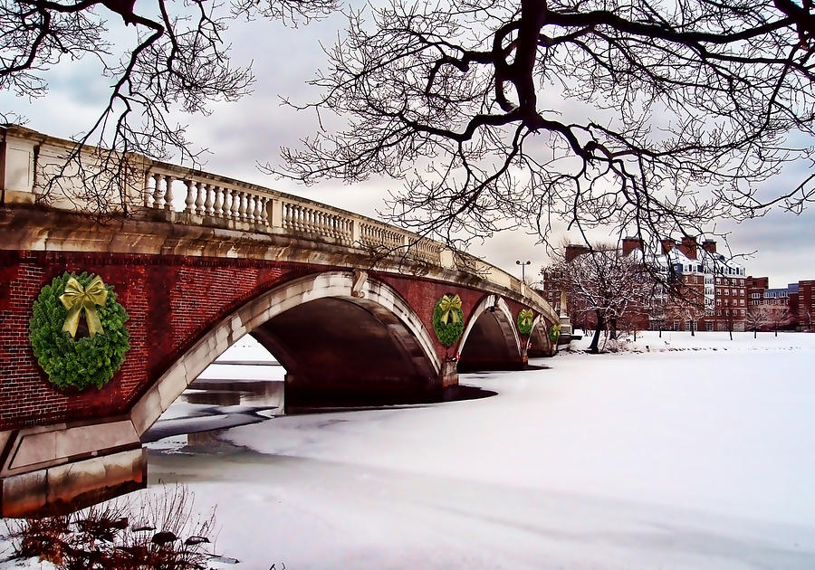 Boston Painting - Winter Christmas On The Charles River Boston by Elaine Plesser