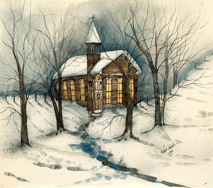 Painting Church In Snow Religious Christmas Ceramic: Winter Church Painting By Anna Sandhu Ray