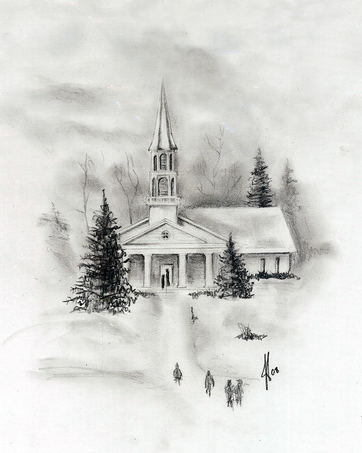 Country Photograph - Winter Church by Jacob Cane
