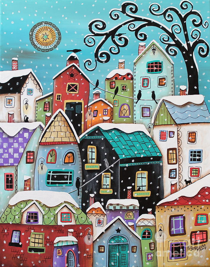 Winter Painting - Winter City by Karla Gerard