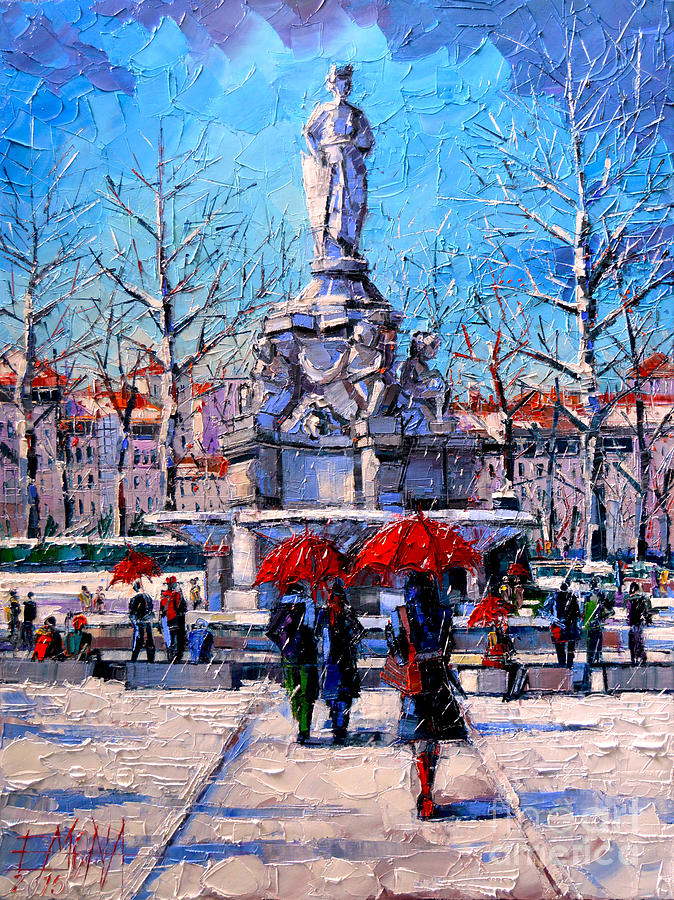 Winter Painting - Winter City Scene - The Square  Marshal Lyautey In Lyon - France by Mona Edulesco