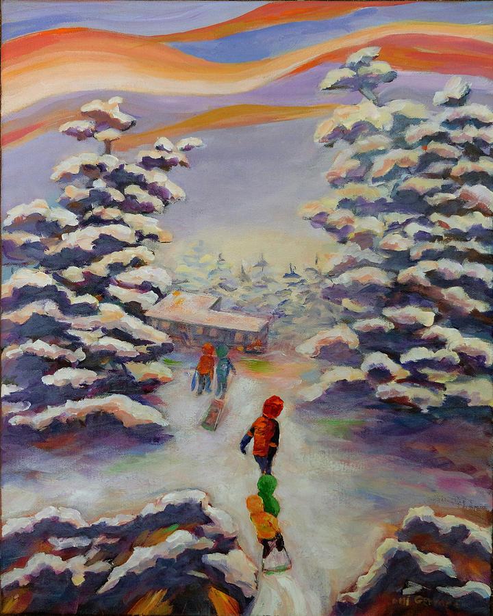 Tobogganing Painting - Winter Comfort by Naomi Gerrard