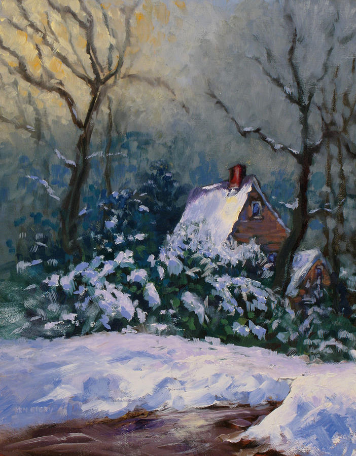 Cottage Painting - Winter Cottage by Ken Fiery