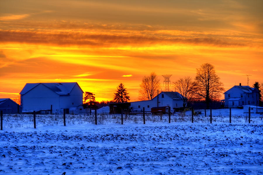 Farm Photograph - Winter Country Sunset by David Dufresne