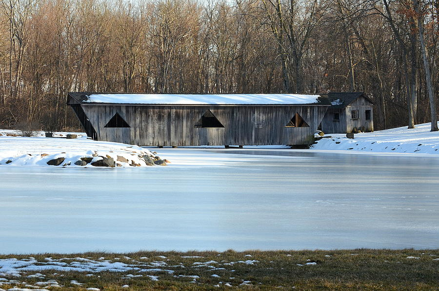 Bridge Photograph - Winter Covered Bridge by Jennifer  King