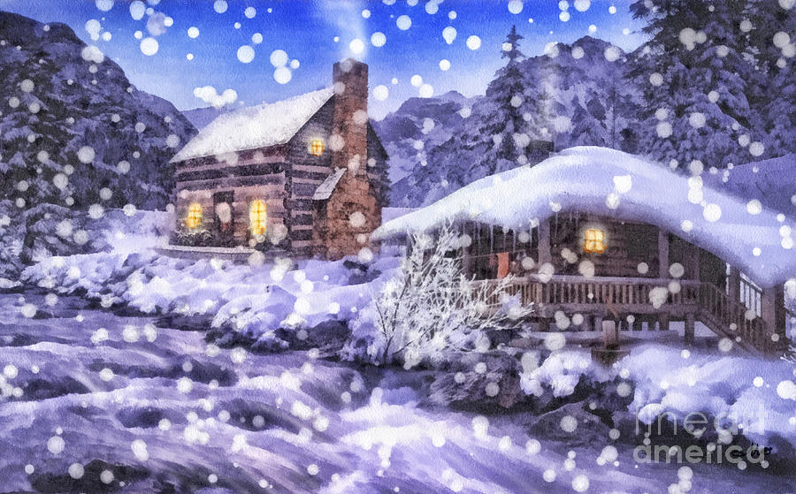 Winter Painting - Winter Creek by Mo T