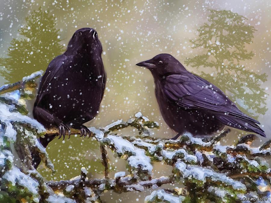 Bird Digital Art - Winter Crows by Ken Morris