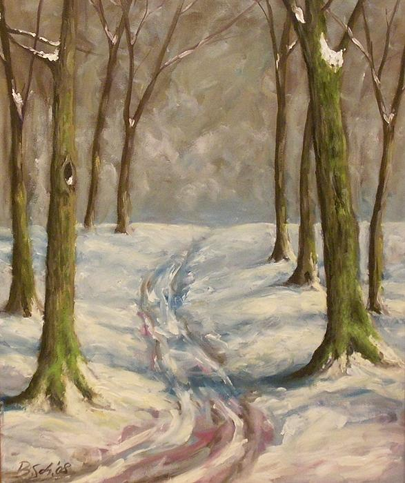 Winter Painting - Winter Day by Birgit Schnapp