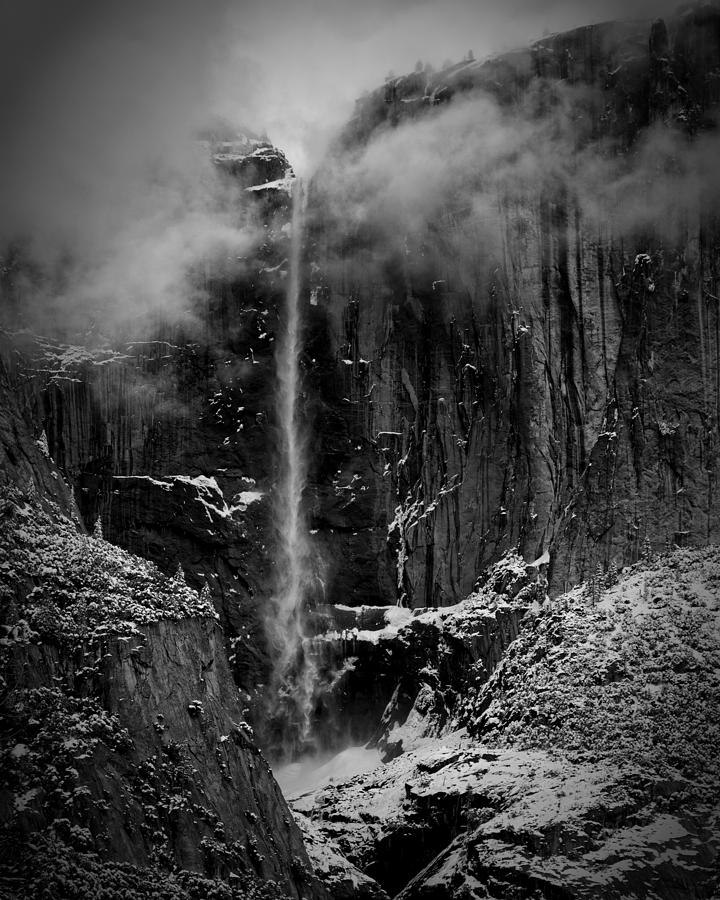 Black And White Photograph - Winter Day Upper Yosemite Falls Ca by Troy Montemayor
