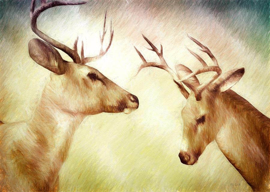 Deer Painting - Winter Deer by Bob Orsillo