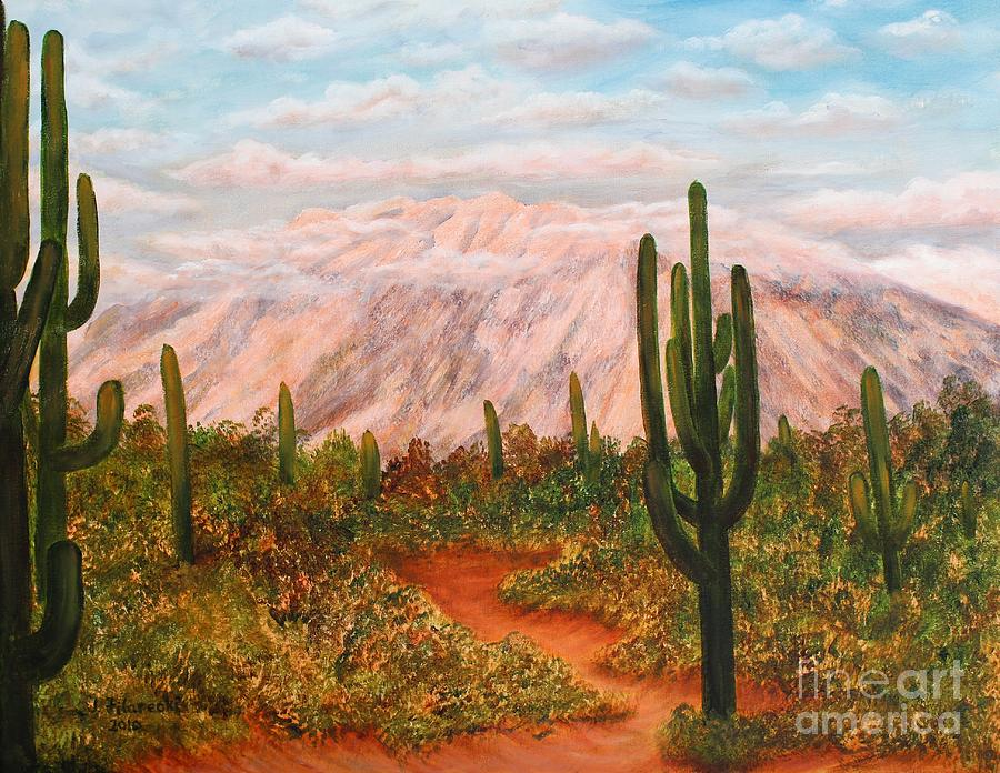 Desert Sunset Painting - Winter Desert At Sunset by Judy Filarecki