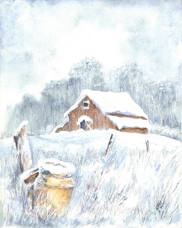 Barn Painting - Winter Down On The Farm by Carol Wisniewski