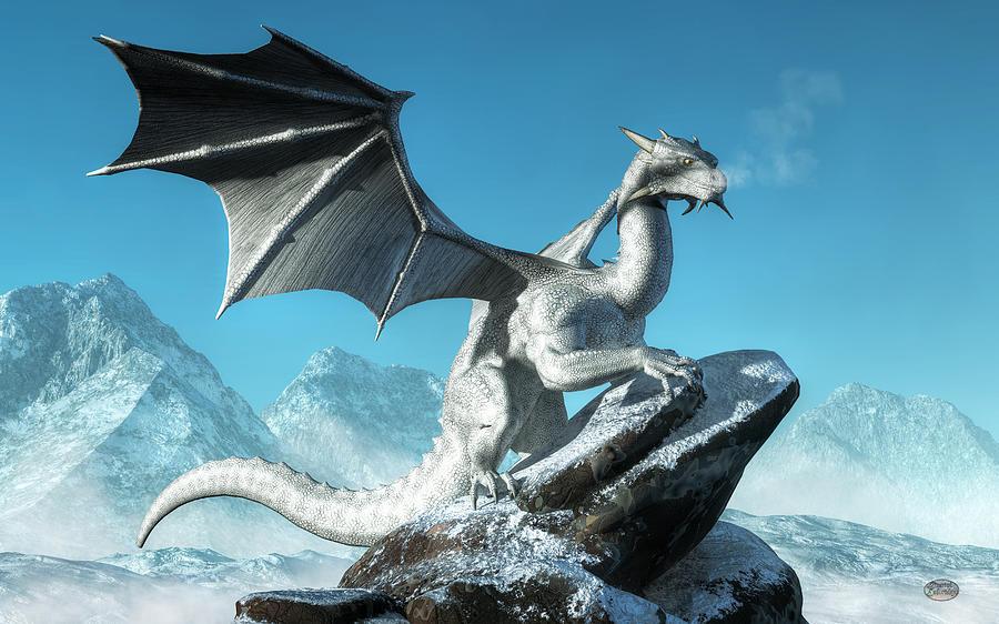 White Dragon Digital Art - Winter Dragon by Daniel Eskridge