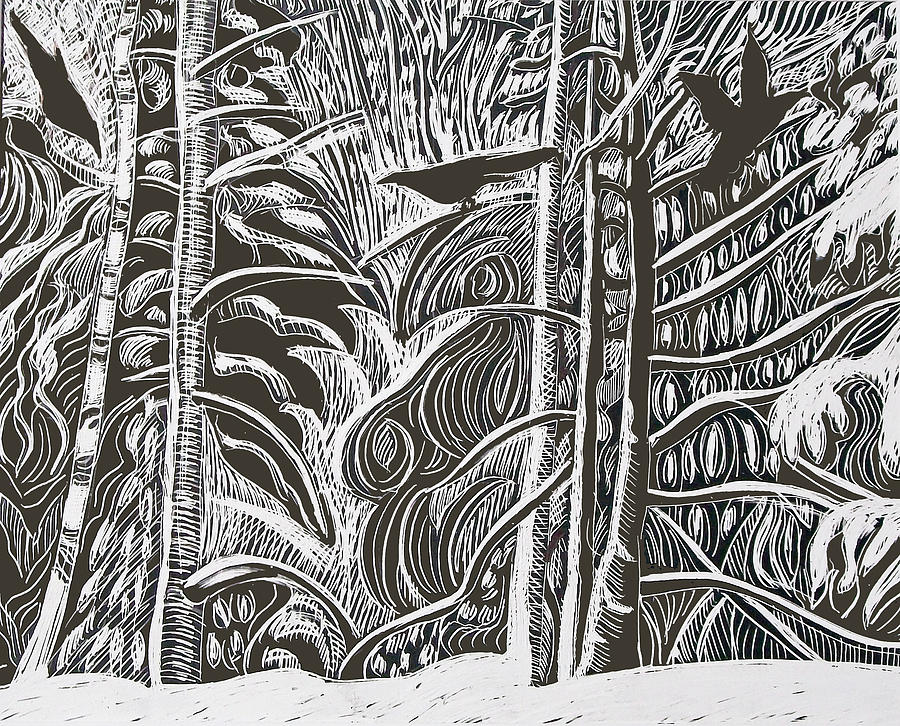 Crows Drawing - Winter Etching by Grace Keown