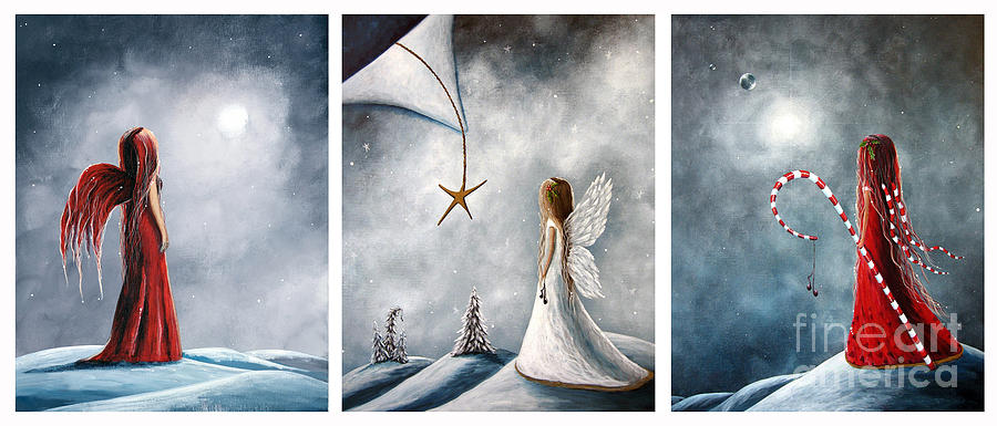 Fairies Painting - Winter Fairies By Shawna Erback by Shawna Erback