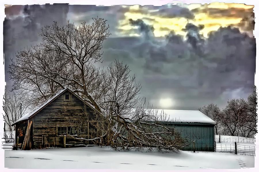 Winter Photograph - Winter Farm Polaroid Transfer  by Steve Harrington