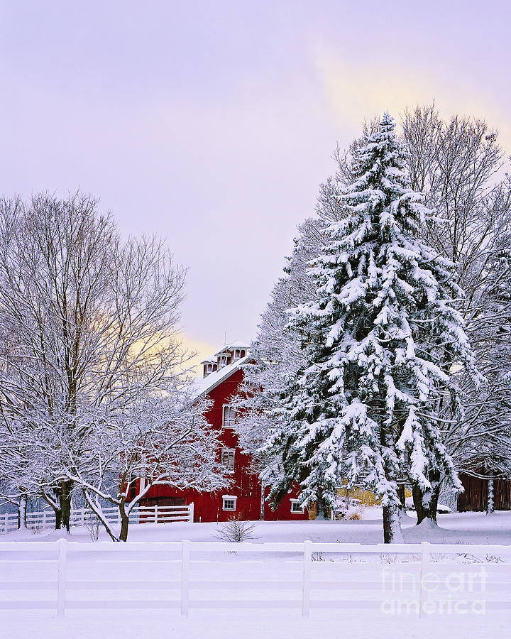 Barn Photograph - Winter Farm Scene by Timothy Flanigan