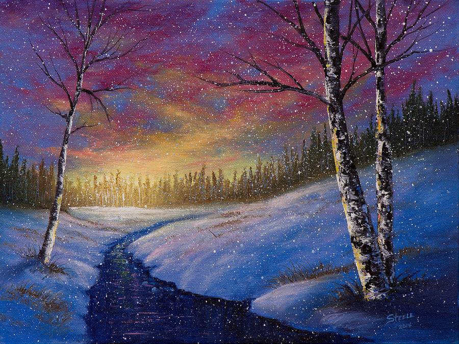 Landscape Painting - Winter Flurries by C Steele