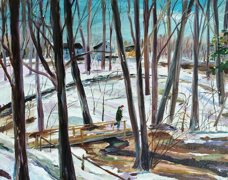 Acrylic Painting - Winter Footbridge by Scott Nelson