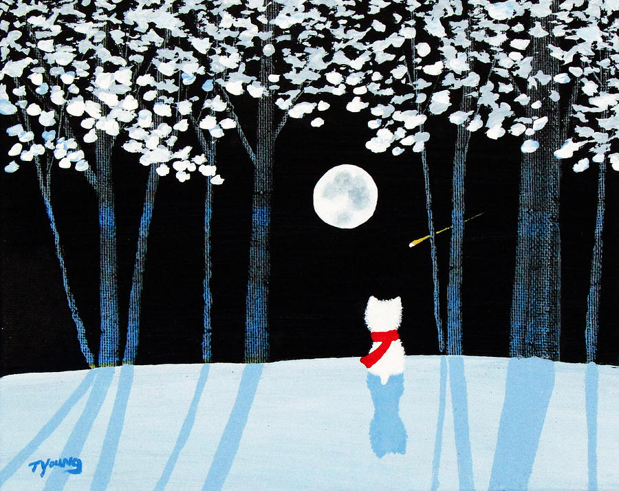 Westie Painting - Winter Forest by Todd Young