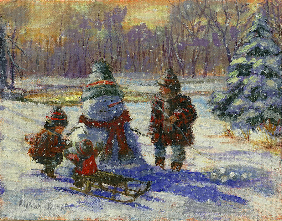Christmas Painting - Winter Friend by Marcia Johnson