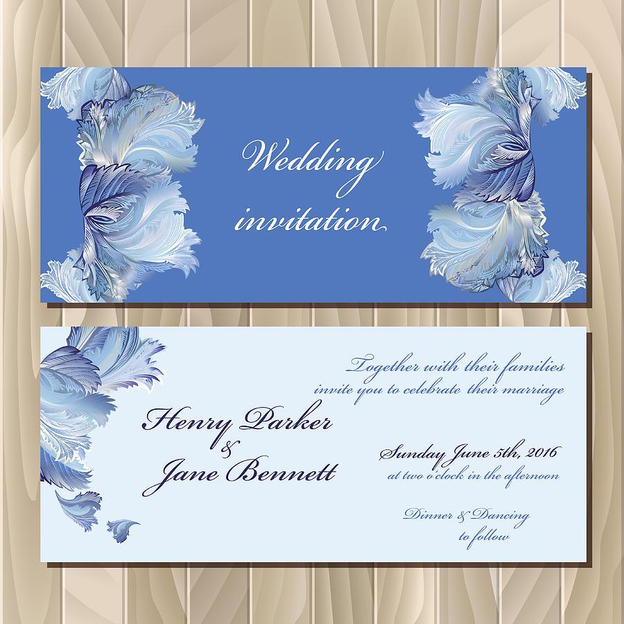 Winter Frozen Glass Design Invitation Card Wedding Vector Illustration By Irinadvilyuk