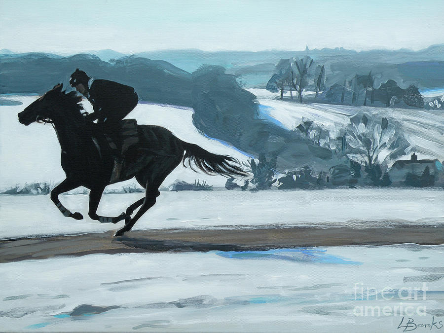 Horse Mixed Media - Winter Gallops by Leigh Banks