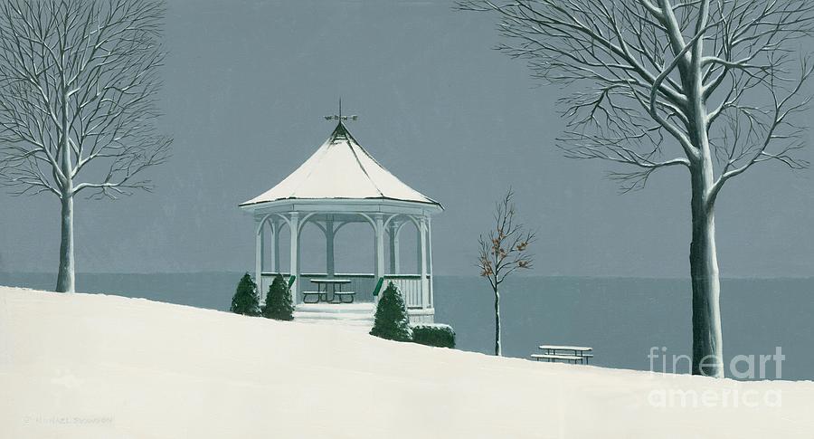 Winter Painting - Winter Gazebo by Michael Swanson