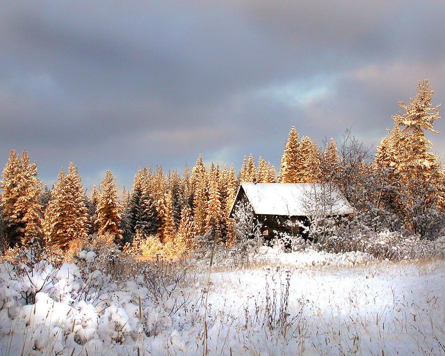 Shack Photograph - Winter Glow by Doug Fredericks
