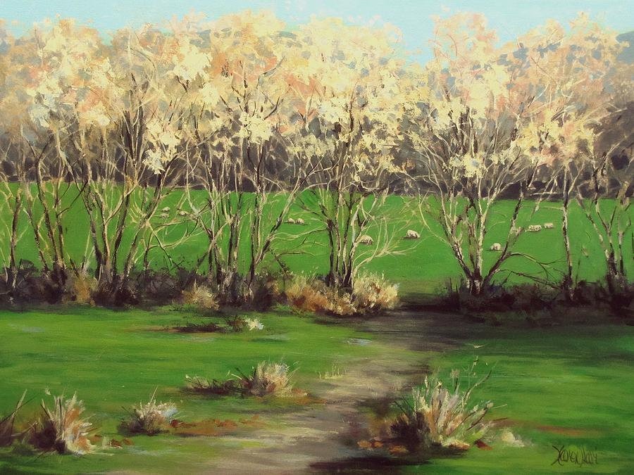 Acrylic Painting - Winter Greens by Karen Ilari