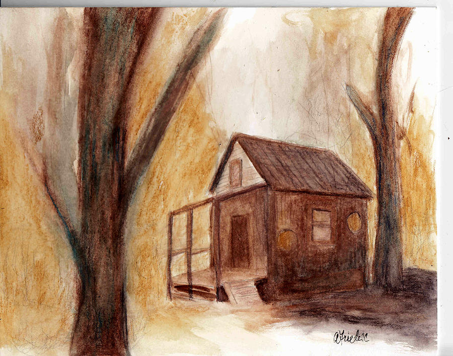 Cottage Painting - Winter Hideaway by Andrea Friedell