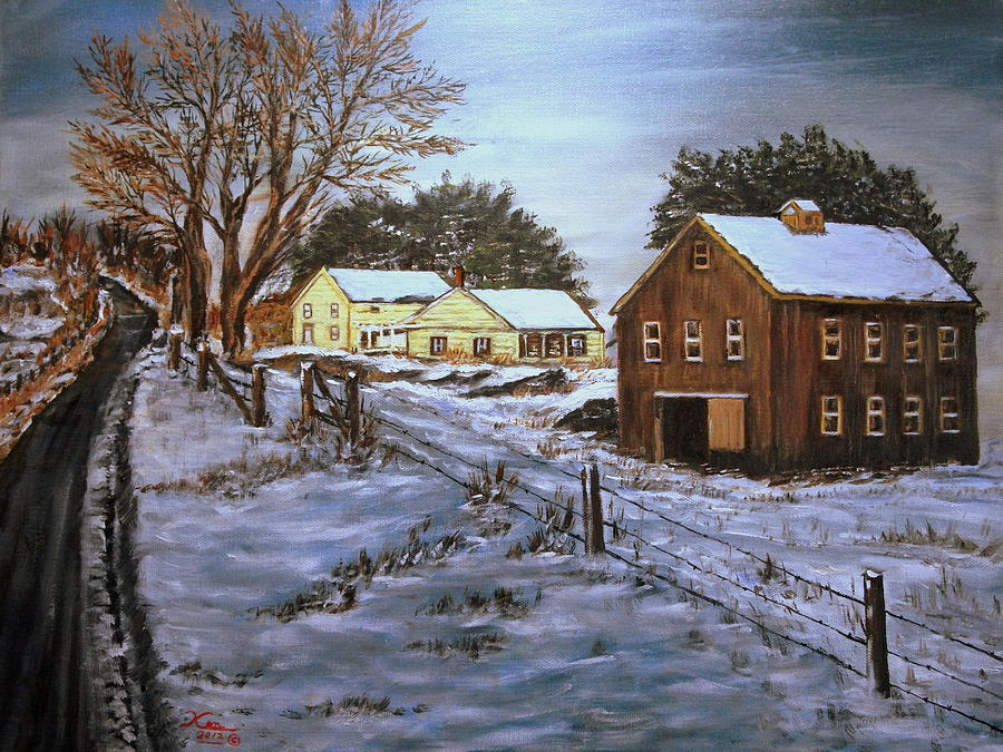 Landscape Painting - Winter Home and Barn by Kenneth LePoidevin