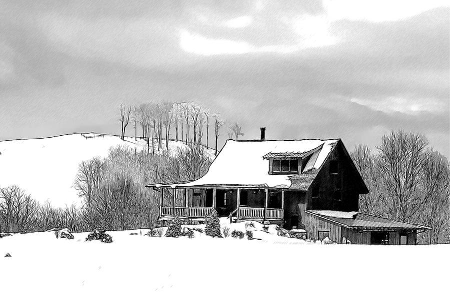 Snow Drawing - Winter Home by John Haldane