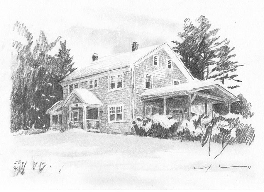 Winter House Pencil Portrait Painting by Mike Theuer