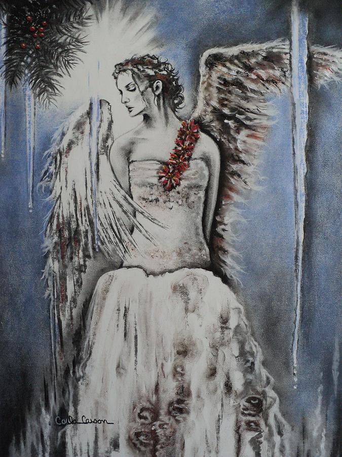 Angel Drawing - Winter Ice Angel by Carla Carson