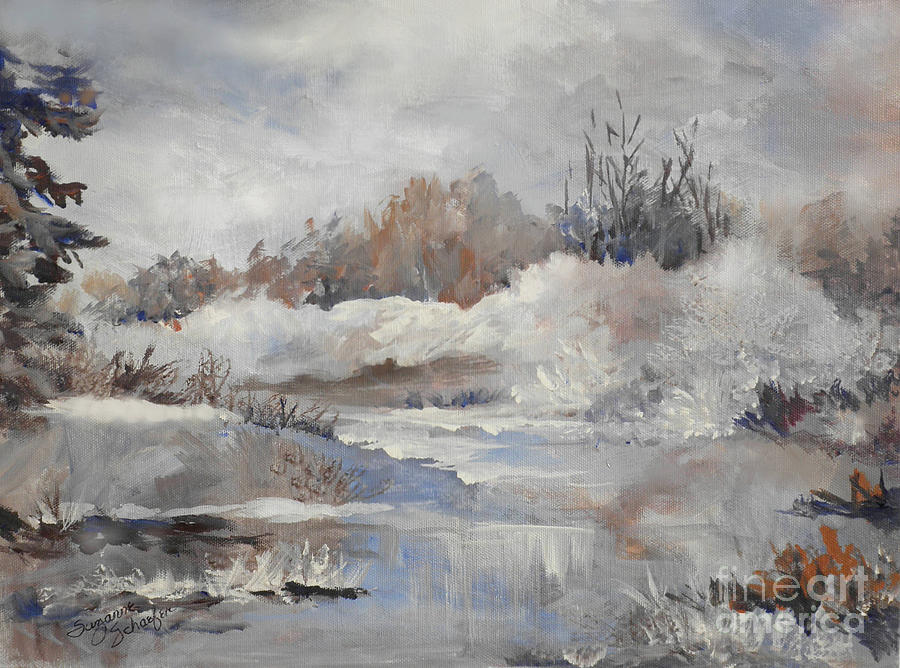 Winter Scene Painting - Winter Impressions by Suzanne Schaefer
