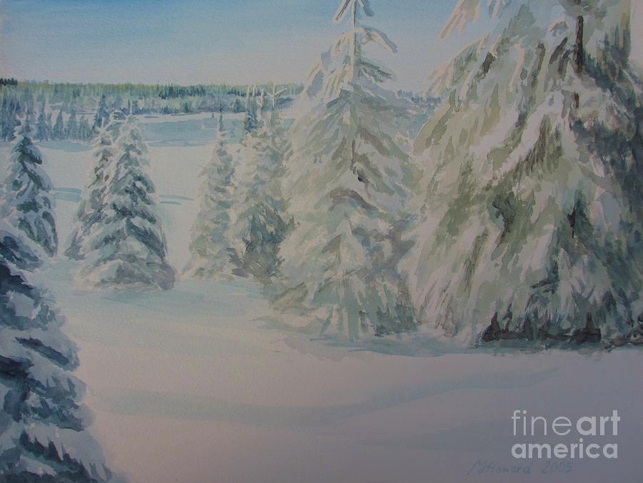 Winter Landscape Painting - Winter In Gyllbergen by Martin Howard