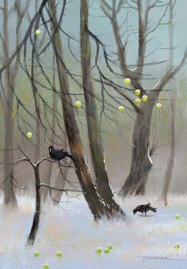 Landscape Painting - Winter In Park by Tancau Emanuel