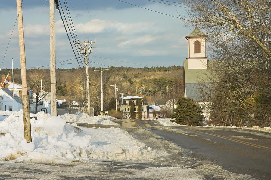 Town Photograph - Winter In Round Pond Maine by Keith Webber Jr