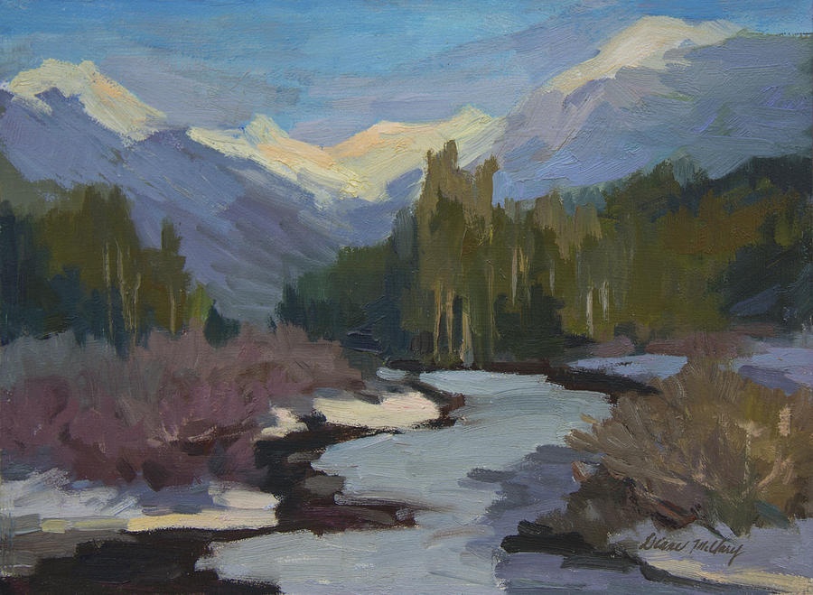 Winter Painting - Winter in the Cascade Mountains by Diane McClary