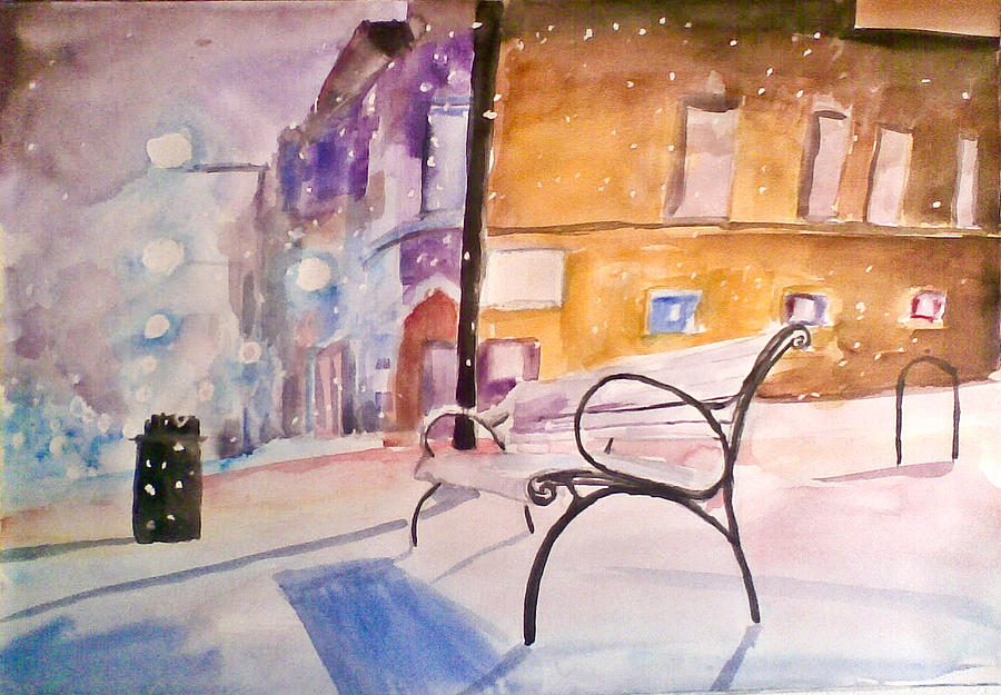 Winter In The City Painting by Vaidos Mihai