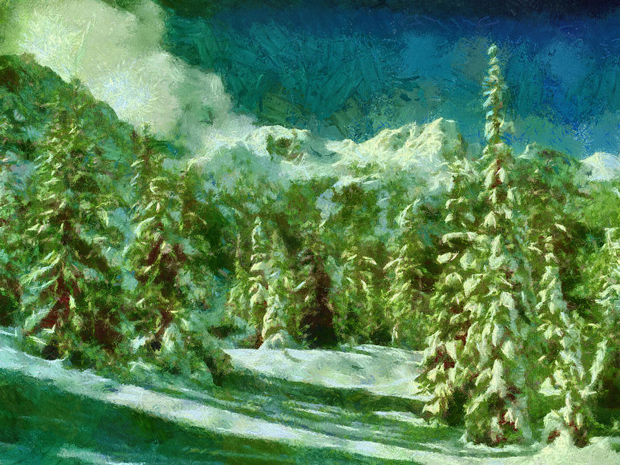 Winter Painting - Winter In The Mountains by Georgi Dimitrov
