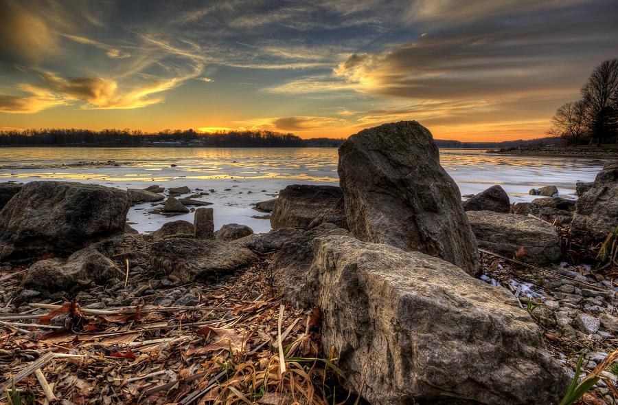 Winter Lake Sunset by David Dufresne