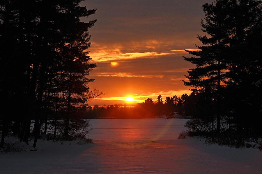 Frozen Photograph - Winter Lake Sunset by RJ Martens