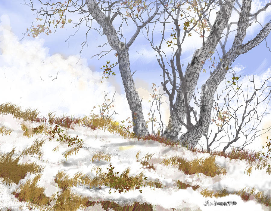 Winter Landscape 2 Drawing By Jim Hubbard