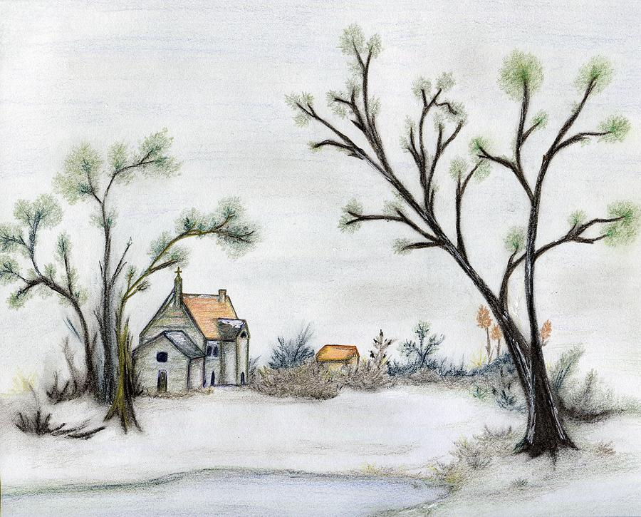 Winter Landscape Drawing - Winter Landscape With Cottage by Christine Corretti