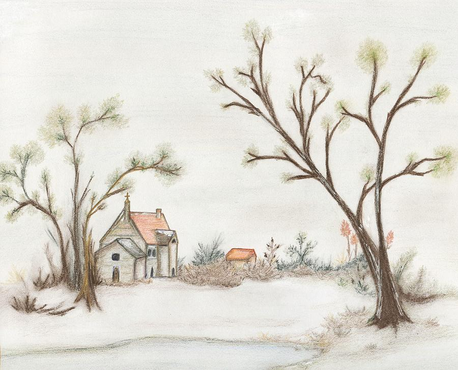 Winter Landscape Drawing - Winter Landscape With Cottage II by Christine Corretti