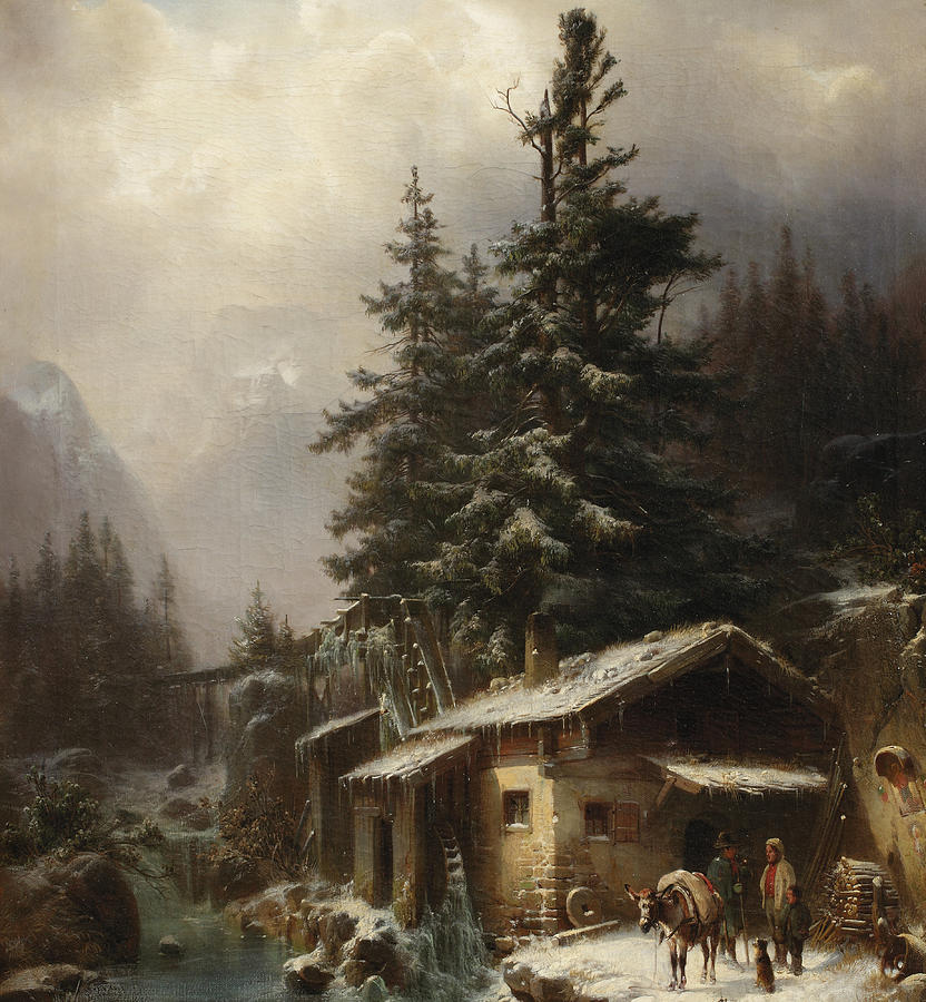 Winter Painting - Winter Landscape With Figures Resting Near A Water Mill by Heinrich Hofer